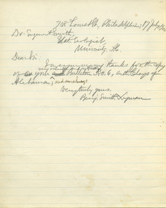 Letter from Benjamin Smith Lyman to Eugene A. Smith