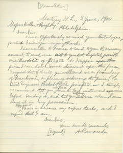 Letter from A. Ramoneda to Messrs. Heller and Brightly