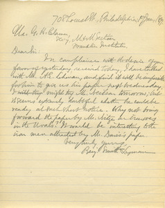 Letter from Benjamin Smith Lyman to G. H. Clamer