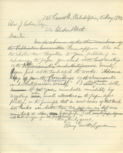 Letter from Benjamin Smith Lyman to Charles J. Cohen