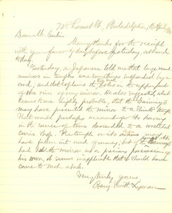 Letter from Benjamin Smith Lyman to Stewart Culin