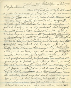 Letter from Benjamin Smith Lyman to Hannah Brewer