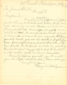 Letter from Benjamin Smith Lyman to James Christie