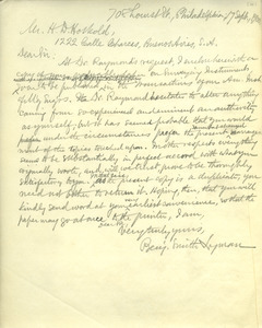 Letter from Benjamin Smith Lyman to Mr. H. D. Hoskold