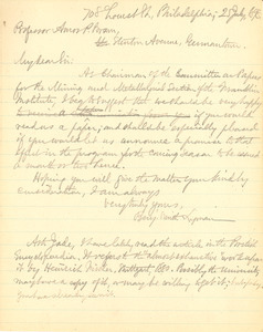 Letter from Benjamin Smith Lyman to Amos P. Brown