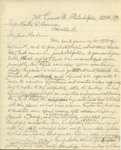 Letter from Benjamin Smith Lyman to Martha R. Bannan