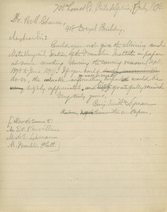 Letter from Benjamin Smith Lyman to H. M. Chance