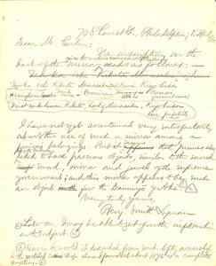 Letter from Benjamin Smith Lyman to Mr. Culin