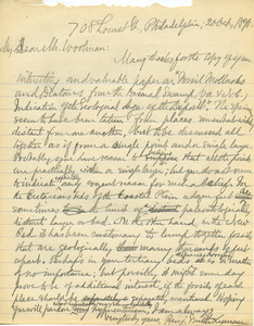 Letter from Benjamin Smith Lyman to Lewis Woolman