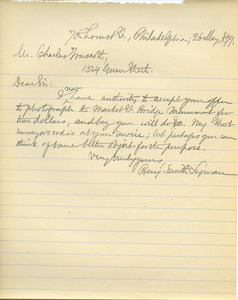Letter from Benjamin Smith Lyman to Charles Truscott