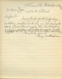 Letter from Benjamin Smith Lyman to Horace Jayne