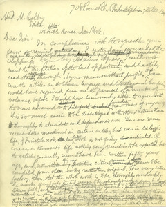 Letter from Benjamin Smith Lyman to Frank Moore Colby