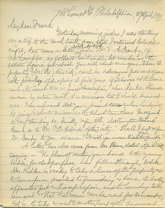 Letter from Benjamin Smith Lyman to Frank Lyman