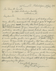 Letter from Benjamin Smith Lyman to Elmer H. Lawall