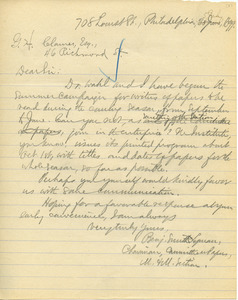 Letter from Benjamin Smith Lyman to G.H. Clamer