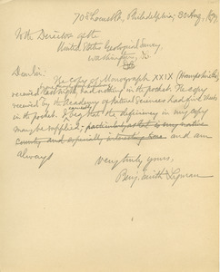 Letter from Benjamin Smith Lyman to the Director of the United States Geological Survey