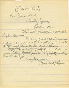 Letter from Banjamin Smith Lyman to James Reed