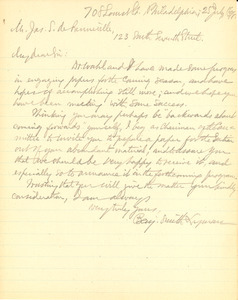 Letter from Benjamin Smith Lyman to James S. de Benneville