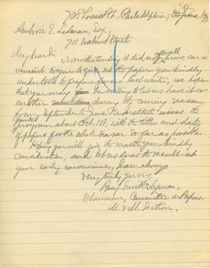 Letter from Benjamin Smith Lyman to Ambrose E. Lehman