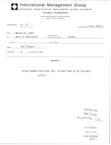 Fax from Ann Taggart to Mark H. McCormack