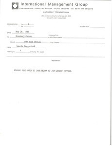 Fax from Laurie Roggenburk to Rosemary Caruso