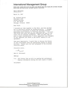 Letter from Mark H. McCormack to Richard Ferris