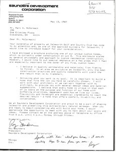 Letter from Roy Saunder to Mark H. McCormack