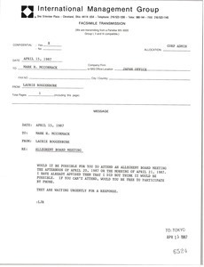 Fax from Laurie Roggenburk to Mark H. McCormack