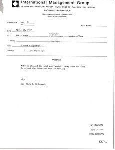 Fax from Laurie Roggenburk to Sue Starkie