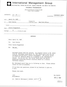 Fax from Laurie Roggenburk to Curt Curtis