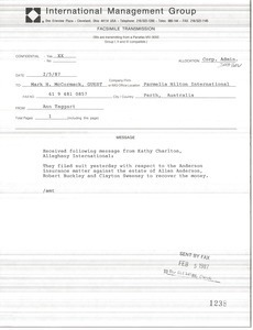 Fax from Ann M. Taggart to Mark H. McCormack