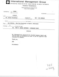 Fax from Ayn Robbins to Arthur Rosenblum
