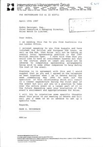 Fax from Mark H. McCormack to Andre Heiniger