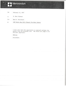 Memorandum from Mark H. McCormack to H. Kent Stanner