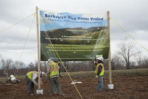 Construction crew setting up banner for opening of the Berkshire Wind Power Project