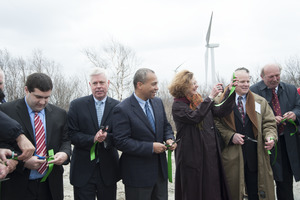 Gov. Deval Patrick (center) flanked by Richard K. Sullivan (left) Meredith Cochran and Ronald C. DeCurzio (right), cutting to ribbon to dedicate the Berkshire Wind Power Project