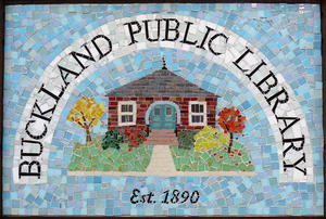 Buckland Public Library: close-up of sign