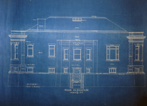 Griswold Memorial Library: blueprints of rear elevation by McLean & Wright Architects