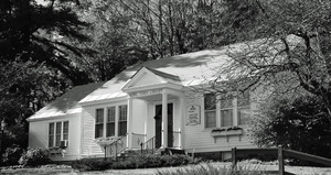 Rowe Town Library: exterior of library in fall