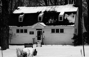 Worthington Library: exterior front in snow