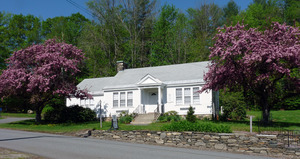 Rowe Town Library: exterior of library in spring