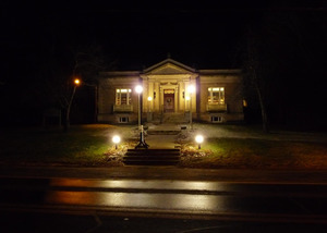 Griswold Memorial Library: library lit up at night