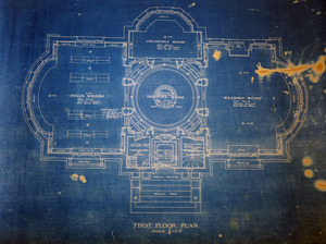 Griswold Memorial Library: blueprints of first floor plan by McLean & Wright Architects