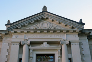 Griswold Memorial Library: detail of pediment above front entrance