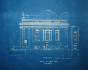 Griswold Memorial Library: blueprints of side elevation by McLean & Wright Architects