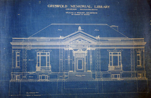 Griswold Memorial Library: blueprints of front elevation by McLean & Wright Architects