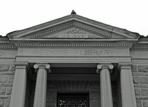 Meekins Public Library: close-up of front pediment