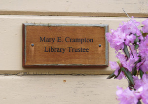 Haydenville Public Library: plaque for Mary E. Crampton, Library Trustee