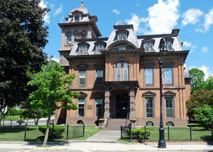 North Adams Public Library: view of pediment above front entrance and vaulted roof
