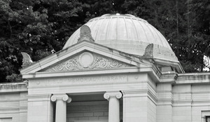 Field Memorial Library: close-up of exterior of front pediment and rotunda